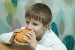Chłopiec z hamburgerem obrazy stock