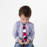 Chłopiec z hełmofonami Zdjęcie Royalty Free