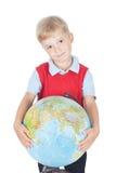 Chłopiec z kulą ziemską Zdjęcia Royalty Free