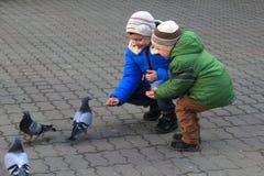 Chłopiec z matką na kwadratowych karma gołębiach obraz royalty free