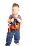 Chłopiec z narzędziami na białym tle Obrazy Royalty Free