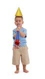 Chłopiec z partyjnymi akcesoriami zdjęcie royalty free