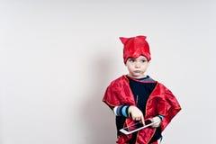 Chłopiec z pastylką Obrazy Royalty Free