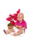 Chłopiec z perełkową kolią Fotografia Royalty Free