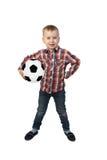 Chłopiec z piłki nożnej ball Zdjęcie Stock