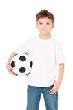 Chłopiec z piłki nożnej piłką Fotografia Royalty Free