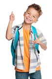 Chłopiec z plecakiem Fotografia Stock