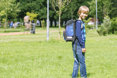 Chłopiec z plecakiem iść szkoła widok z powrotem Fotografia Stock