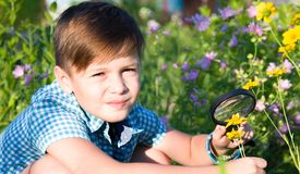 Chłopiec z powiększać - szkło w lecie obraz royalty free