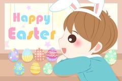 Chłopiec z szczęśliwym Easter ilustracji