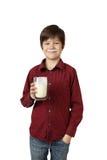 Chłopiec z szkłem kefir Fotografia Stock
