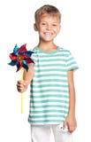 Chłopiec z wiatrowskazem Zdjęcie Stock