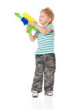 Chłopiec z Wodnym pistoletem Zdjęcia Stock
