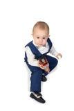 Chłopiec z zabawka pociągiem obrazy royalty free