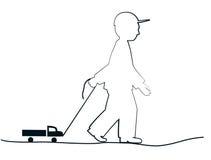 Chłopiec z zabawki ciężarówką ilustracja wektor