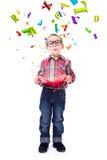 Chłopiec zastanawiać się latanie listy obraz stock