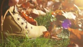 Chłopiec zasznurowywa w górę jego butów na pięknym jesieni popołudniu zbiory wideo