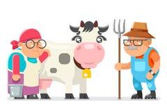 Chłopskiej dojarki średniorolnej babci ranczera starości kobiety mężczyzna charakteru kreskówki dziadek dorosły wieśniak odizolow Zdjęcie Stock