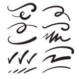 Chłosta Swashes nurkowań Swooshes skrobaniny i Squiggles dla typografia naciska, ilustracja wektor