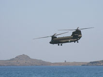 CH-47 Chinook. Chinook exercising manoeuvres on Rhodes, Greece Stock Images