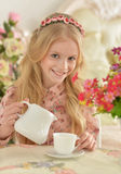 Chá bebendo da menina Fotos de Stock