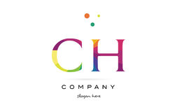 ch c h creative rainbow colors alphabet letter logo icon vector illustration