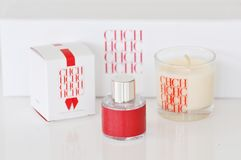 CH Carolina Herrera New York luxury mini perfume, scented candle. Famous New York fashion and perfume designer Carolina Herrera has established her design house Royalty Free Stock Photography