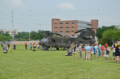 CH-47 Chinook and people Royalty Free Stock Images