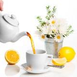 Chá de derramamento do limão Imagens de Stock Royalty Free