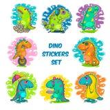 Chłodno Dino doodle wektoru majchery Zdjęcie Royalty Free