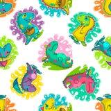 Chłodno Dino doodle wektoru wzór Zdjęcia Royalty Free