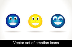 chłodno emoticon glansowany ikony set Obraz Stock