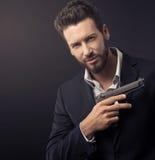 Chłodno tajny agent z pistoletem Obraz Royalty Free