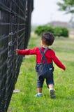 Chłopiec chodzi obok ogrodzenia Zdjęcia Royalty Free