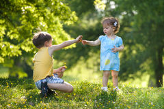 Chłopiec daje kwiatu jego siostra zdjęcie stock