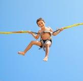 Chłopiec doskakiwanie na trampoline Obraz Royalty Free