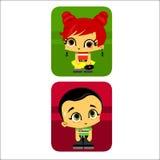 chłopiec dziewczyny ikona royalty ilustracja