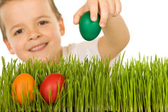 chłopiec Easter jajek trawa Zdjęcie Stock