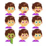 Chłopiec emoci twarze Fotografia Stock