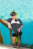 chłopiec flippers maskowa oceanu nastolatka tubka Fotografia Stock