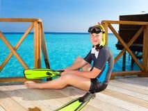 chłopiec flippers maskowa oceanu nastolatka tubka Zdjęcie Royalty Free