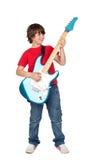 chłopiec gitary elektrycznej whit Zdjęcia Royalty Free