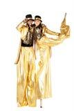 Chłopiec i dziewczyna na stilts Obrazy Stock