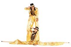 Chłopiec i dziewczyna na stilts Zdjęcie Royalty Free