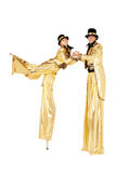 Chłopiec i dziewczyna na stilts Zdjęcia Royalty Free