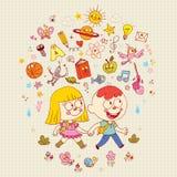 Chłopiec i dziewczyny uczenie edukaci szkolna ilustracja Obraz Stock