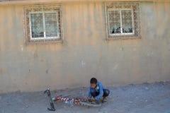 Chłopiec i jego rower Zdjęcie Stock