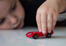 Chłopiec i jego samochód Zdjęcia Stock