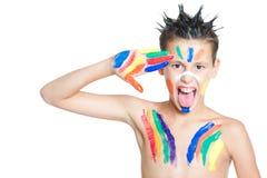 Chłopiec i kolory Zdjęcia Royalty Free