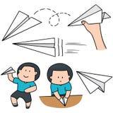 Chłopiec i papieru samolot ilustracja wektor